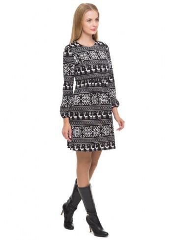 """Платье """"Антея"""" скандинавия черная для беременных и кормящих"""