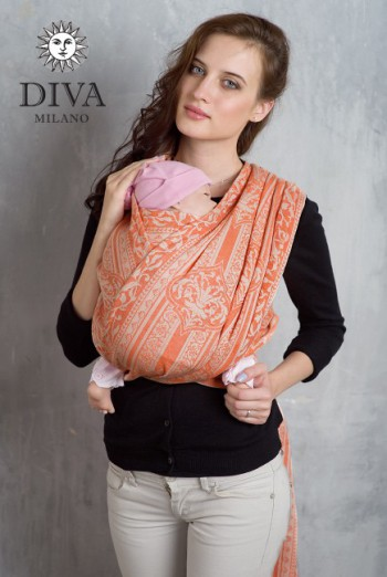 Слинг-шарф Diva Milano, Flora Arancio со льном