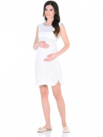 Ночная сорочка бело-голубая для беременных и кормящих