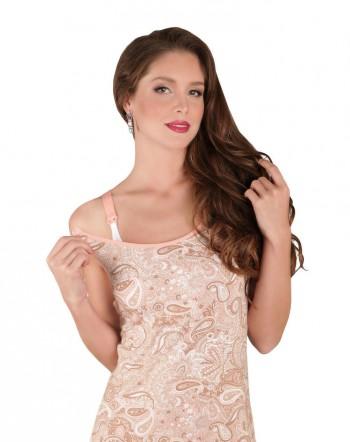 """Сорочка послеродовая """"Ева"""", розовые узоры"""