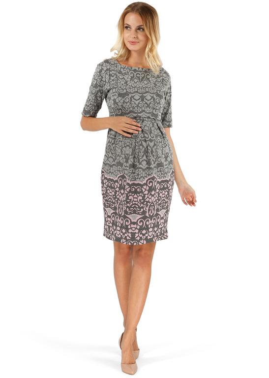 """Платье """"Инес"""" серое с розовым орнаментом для беременных и кормящих ТМ """"I Love Mum"""""""