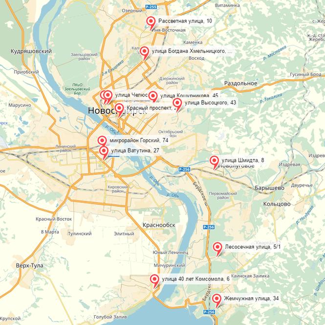 Карта РЦР Новосибирск